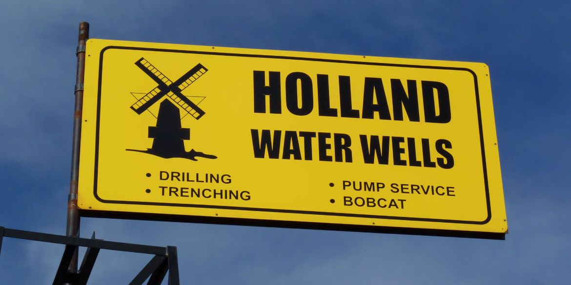 Holland Water Wells signage